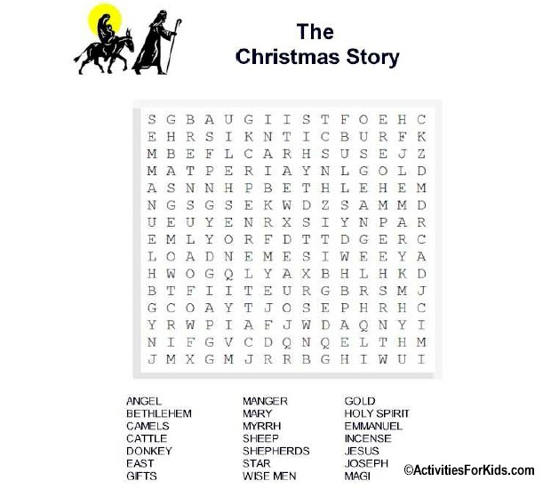 Printable Christmas Story Word Search at ActivitiesForKids.com #wordsearch