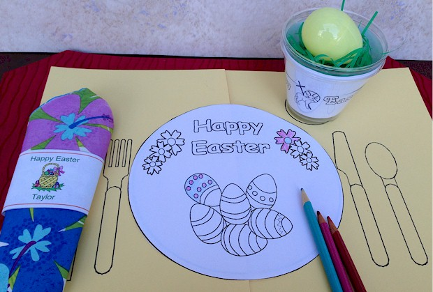 Printable Easter Placemat and coloring page for kids celebrate the holiday.