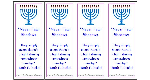 Printables for kids.  Print 8 Custom #Hanukkah Bookmarks per page at ActivitiesForKids.com