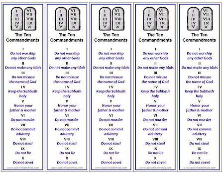 Free printable from Activities for Kids.com, Ten Commandments Bookmarks print 5 bookmarks per page. Easy way to teach the Ten Commandments for classroom, vbs or Sunday School.