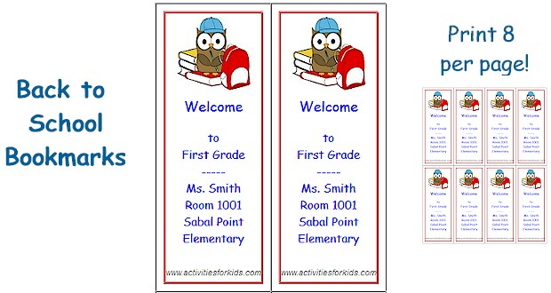 Easy Printable for Teachers! Print 8 Custom Back to School Bookmarks at ActivitiesForKids.com #BackToSchool