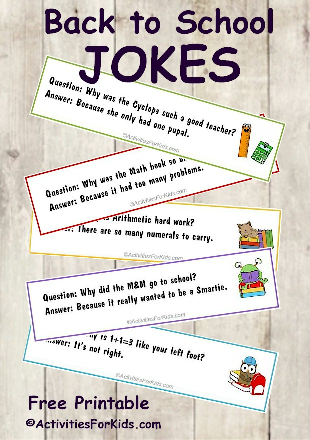 Back to School Jokes for Kids. Printable bookmarks contain cute images and jokes for kids to share. Great #backtoschool printable from ActivitiesForKids.com