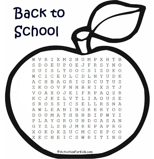 Back to School Word Search Printable from ActivitiesForKids.com with words relating to back to school supplies and school subjects #wordsearch