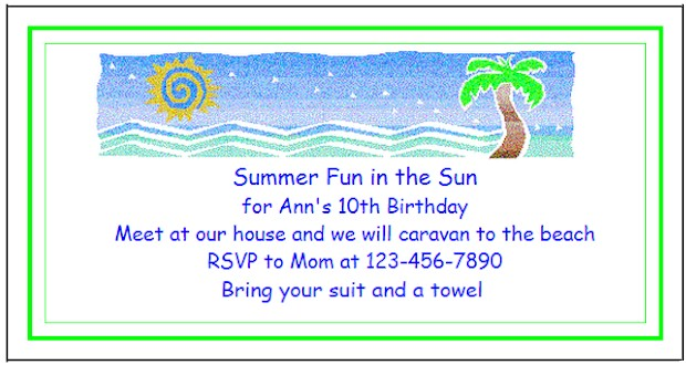 Create custom printable invitations for kids birthday parties - see more Beach Party Ideas at ActivitiesForkids.com
