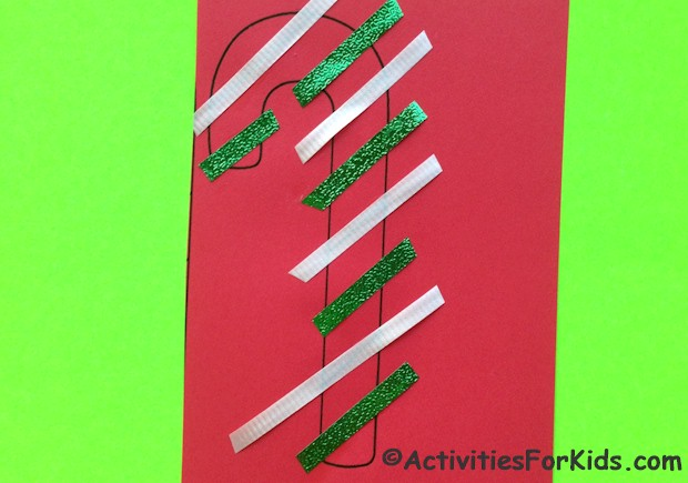 An easy holiday craft for kids of all ages. Two sizes of candy cane printables are available. Print, decorate and cut out. Instructions and printable at ActivitiesForKids.com.