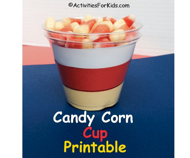Easy Haloween Crafts for Kids.  Printable Candy Corn cup insert for children to decorate for Halloween.  More Halloween printables at Activities for Kids.