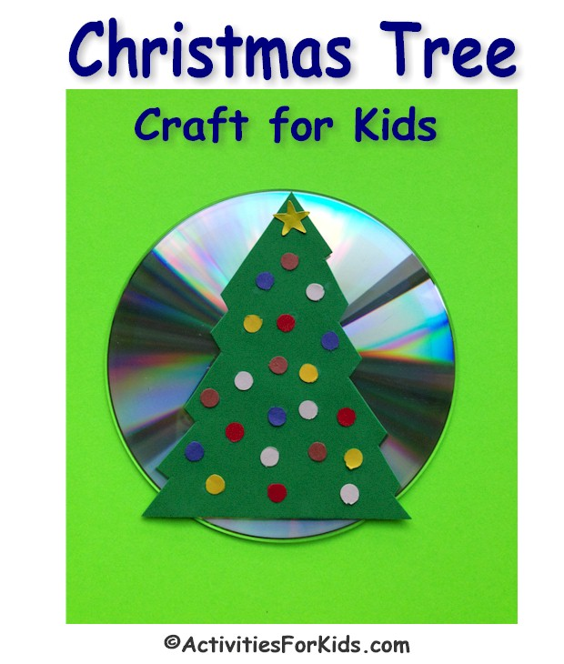 A fun way to decorate for the holidays with a recycled CD. This Christmas Tree craft for kids is a great classroom activity for December. Instructions at ActivitiesForKids.com.