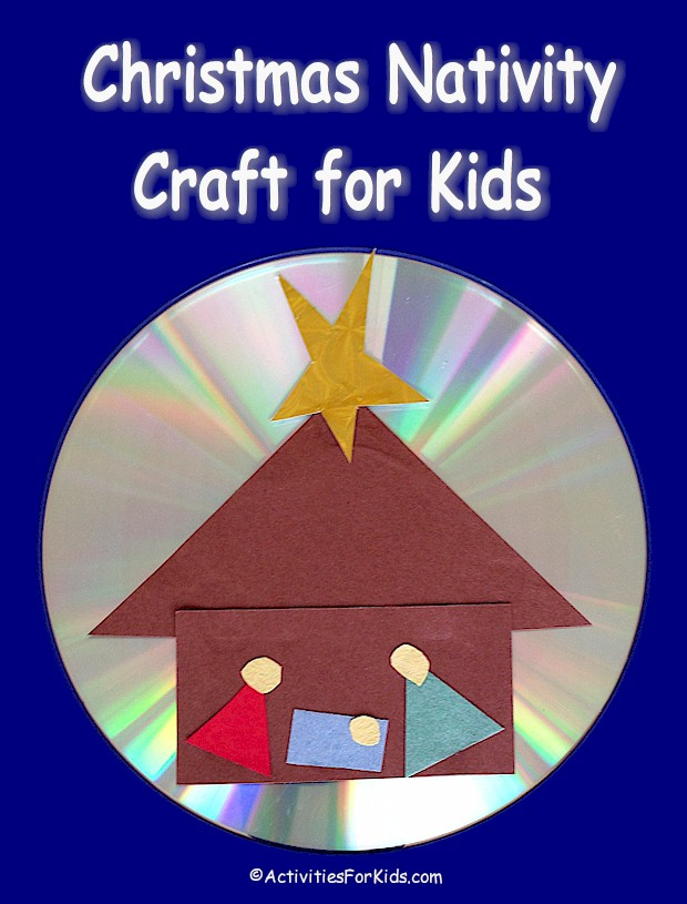 A lovely holiday decoration using a recycled computer CD. The stable, manger and figures are all made with basic shapes. Instructions at ActivitiesForKids.com.