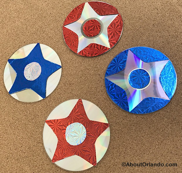 Add some shimmer and shine to your July 4th holiday with these reverse image stars made from recycled CD's and hologram paper