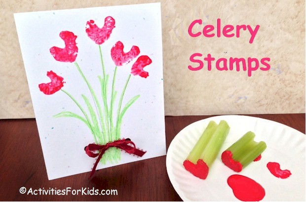 Celery stamps for Valentine Hearts.  Use the heart stamp to create a Valentine Card. More Valentine Craft ideas for kids at ActivitiesForKids.com