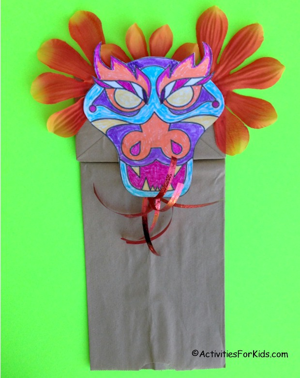 Chinese Dragon Puppet With Template To Color And Decorate Add This A Brown