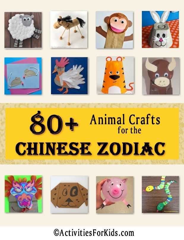 Each year the Chinese Zodiac features one of 12 different animals to celebrate.  Find animal crafts for each sign of the Chinese Zodiac.  Chinese New Year crafts for kids.