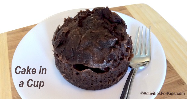 Microwave Chocolate Cake in a Cup recipe from Activities for Kids