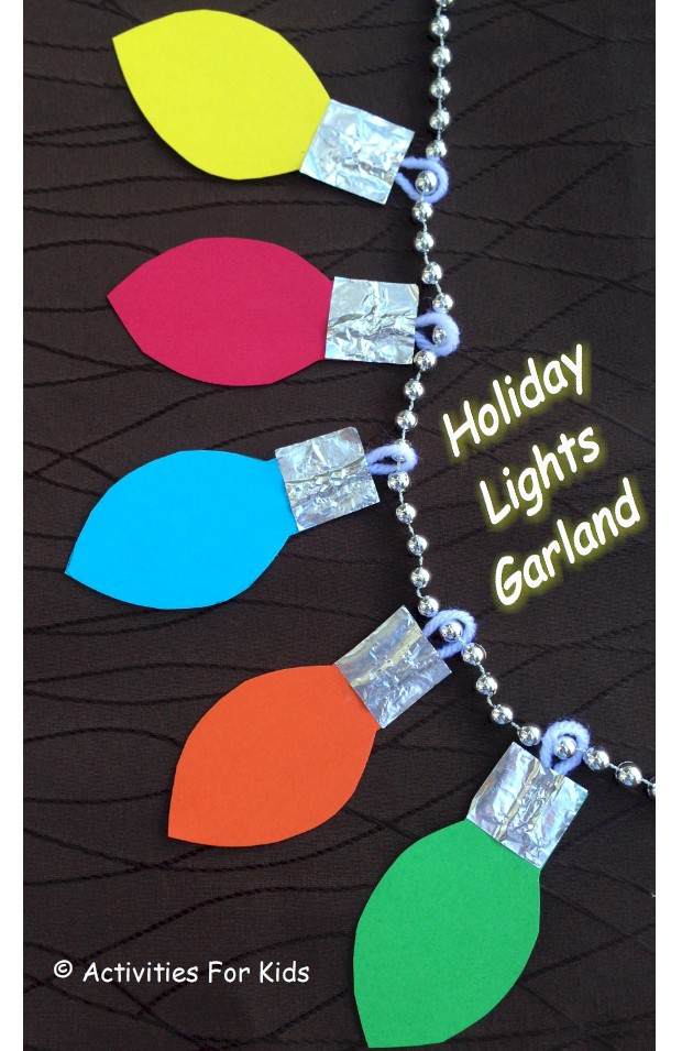 Christmas lights garland decorate the home or classroom.  Individual blubs are cute as gift tags.