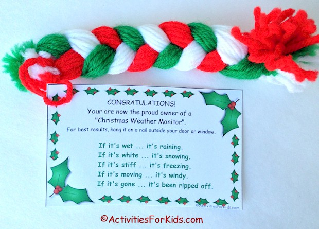 A cute classic and easy kids craft that has been around for years, a Christmas Weather Monitor yarn braid