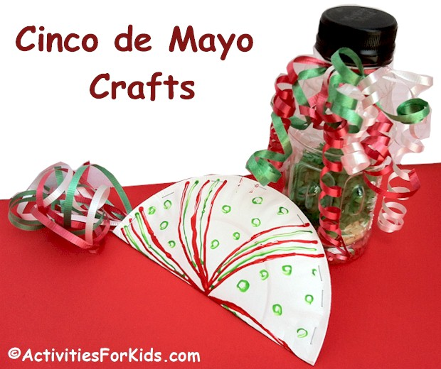 Colorful and inexpensive Cinco de Mayo craft for kids, paper plate maracas find the directions at ActivitiesForKids.com #cincodemayo