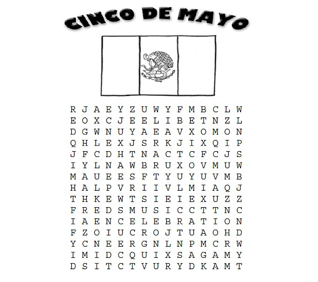 Cinco de Mayo Word Search Printable from ActivitiesForKids.com with words relating to the holiday #cincodemayo #wordsearch