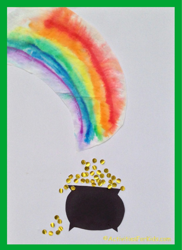 A rainbow and a pot of gold - just in time for St. Patrick's Day.  Create a colorful rainbow using a coffee filter. Use a hole punch and gold paper for the coins.  Printables from Activities for Kids