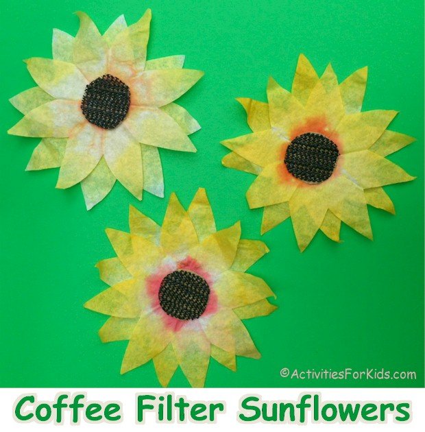 Coffee Filter Sunflowers for suncatchers or to decorate for the Fall.