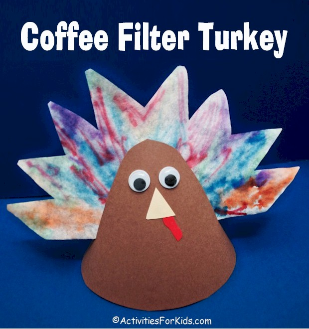 Easy #Thanksgiving Crafts for kids.  A cute table decoration for Thanksgiving.  Easy and inexpensive to make Coffee Filter Turkey is a fun pre-school Thanksgiving holiday craft from ActivitiesForKids.com