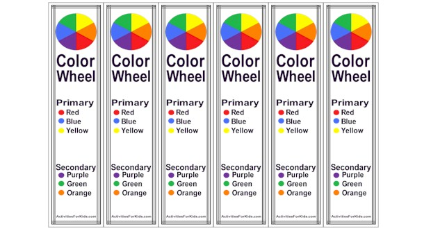 Print 6 Color Wheel bookmarks per page - shows primary colors and secondary colors.  #colorwheel ActivitiesForKids.com