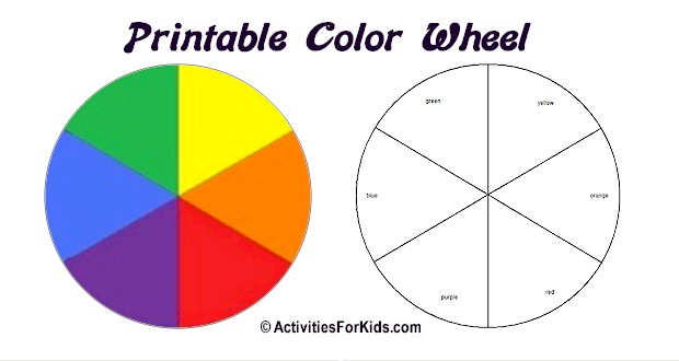 Printable Color Wheel - prints with labeled or unlabeled spaces.  Great clossroom project for learning the primary and secondary colors.  Printout at ActivitiesForKids.com