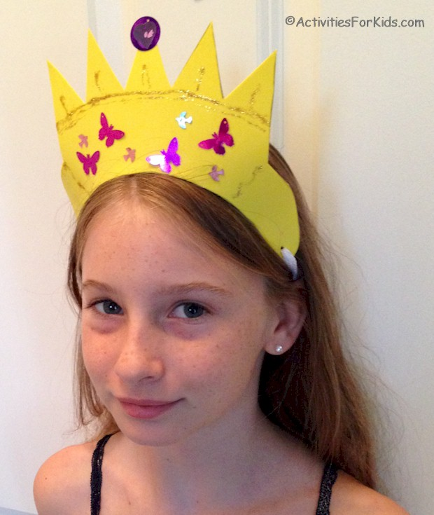 Easy to make and decorate, child's craft foam crown with crown template printable from ActivitiesForKids.com.