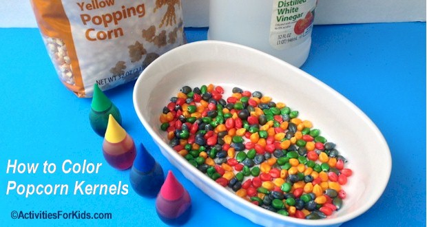 Popcorn kernels are inexpensive and easy to color for a variety of crafts.  ActivitiesForKids.com
