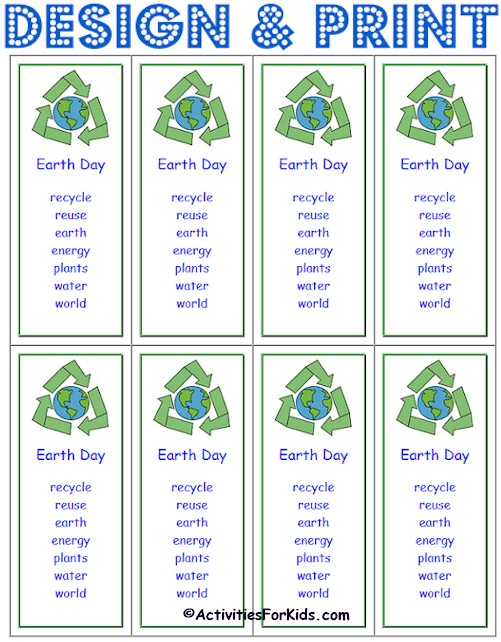 Print 8 Custom Earth Day Bookmarks for your classroom.  Use weekly spelling words or a short poem.  Free, custom, printable bookmarks for #EarthDay Earth Day Activities for Kids