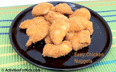 2 Ingredients for healthy chicken nuggets that kids will love! recipe from Activities for Kids