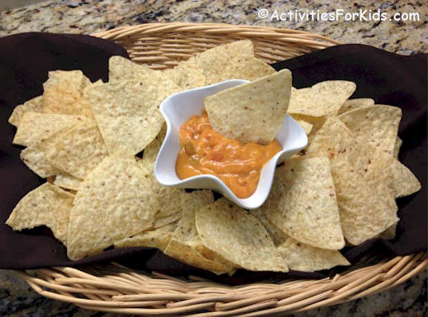 2 Ingredients for this festive party snack.  Make it hot and spicy or as mild as you like.  Easy recipe for kids using the microwave.  Recipe from Activities for Kids