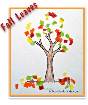 Celebrate Autumn with a colorful picture of falling leaves.  Use the tree printout then add colorful leaves - either by paint or tissue paper.  Directions at ActivitiesForKids.com