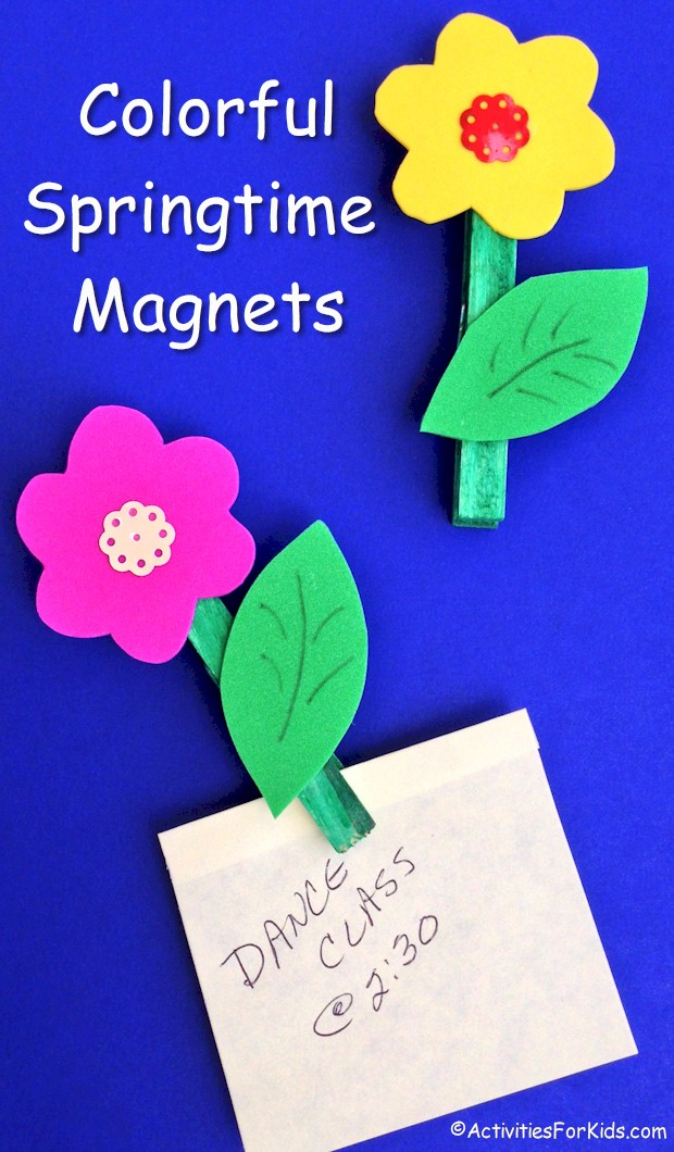 Colorful magnets to brighten up frige or other magnetic surface.  Spring and summer to hold important notes from Activities For Kids.com.