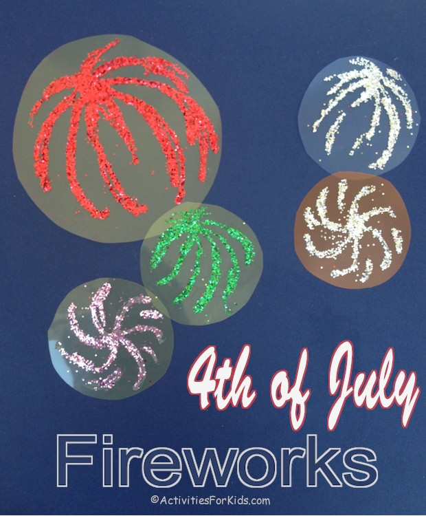 Fireworks glow in the night sky.  Fun 4th of July craft for kids using clear notebook plastic sheets, glue and glitter.  Find more easy July 4th crafts for kids at ActivitiesForKids.com