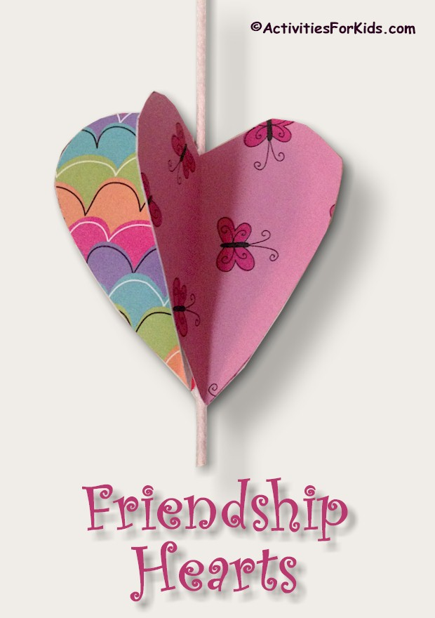 BFF can share their talent and personality by creating these 3-D Friendship Hearts. Each child selects a design for their heart and cuts out a heart for each friend. Directions and printable heart template at Activities for Kids.