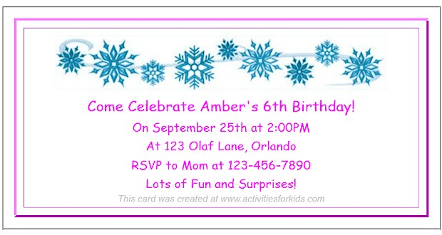 Frozen Party Ideas for Kids. Free printable Frozen Party Invitations