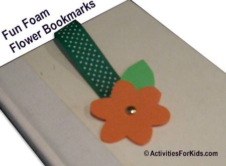 Easy to make, Flower Bookmark using fun foam and ribbon template at ActivityForKids.com