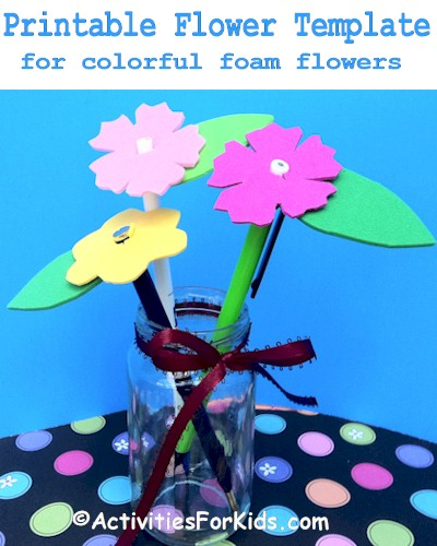 A bouquet of flowers.  Easy to make fun foam pencil toppers from ActivityForKids.com