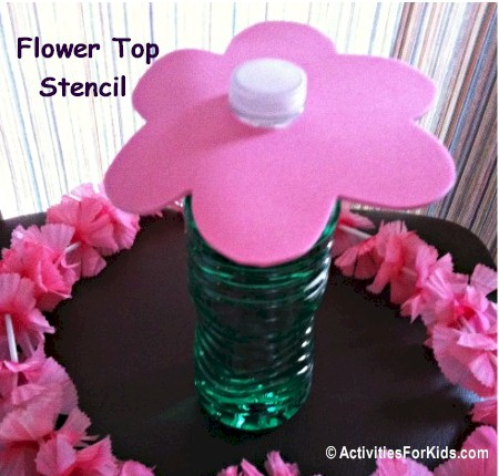A table top decoration or ring toss game for your kids.  Can also be used as a party activity, where children can decorate the flower to take home.  Flower printable from ActivitiesForKids.com