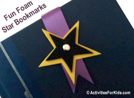 Easy to make, Star Bookmark using fun foam and ribbon template at ActivityForKids.com