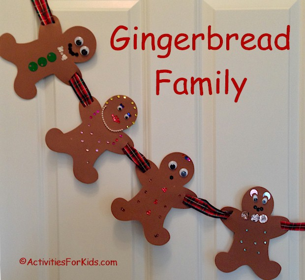 Keep the kids busy over the holiday break by creating a gingerbread family garland. Printable gingerbread person template from Activities For Kids.