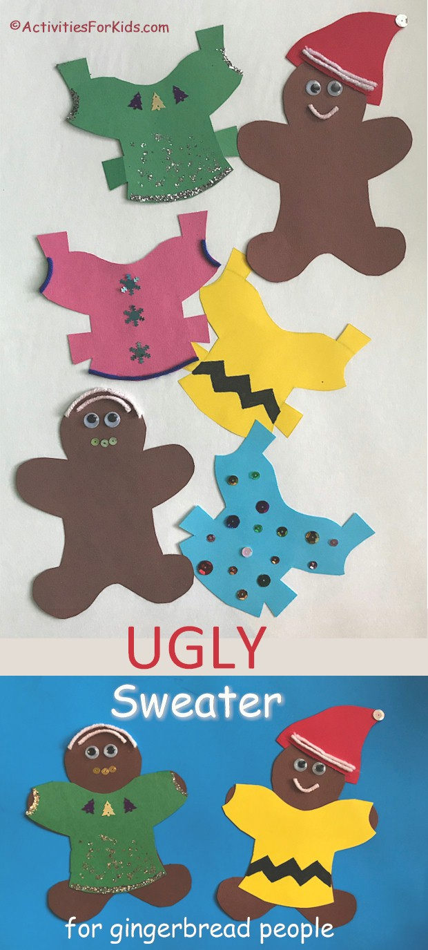 Turn the traditional gingerbread into a paper doll with interchangeable Ugly Holiday Sweaters for children to decorate. Find the printable holiday ugly sweater and gingerbread pattern at ActivitiesForKids.com