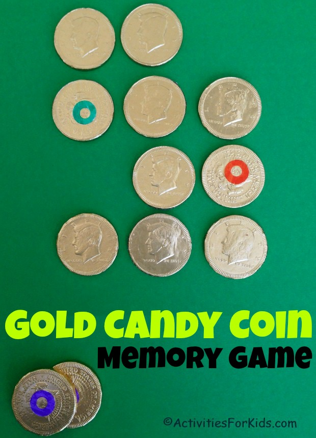 St. Patrick's Day games for kids using gold foil wrapped candy.  Gold coins, Rolos or other candy for this memory game for kids from ActivitiesForKids.com #stpatricksday