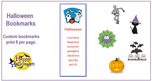 print 8 custom halloween bookmarks at activitiesforkidscom - Halloween Book Marks