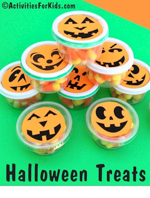Free printable for these cute little containers for Halloween treats.  Pumpkin faces that are printed on orange paper for Halloween Candy Containers at ActivitiesForKids.com