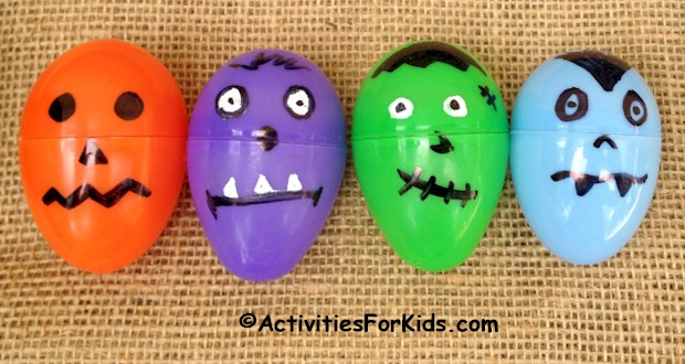 Halloween party games for kids - Up-cycle plastic Easter Eggs for a Halloween Egg Hunt.  Cute images for Frankenstein, Dracula, Pumpkin and Monsters - Easy Halloween Craft for kids. Find more holiday activities and ideas at ActivitiesForKids.com