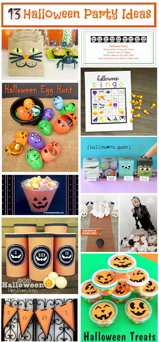 13 Ideas for hosting a Halloween party for kids including party invitations, games and goodie bags.