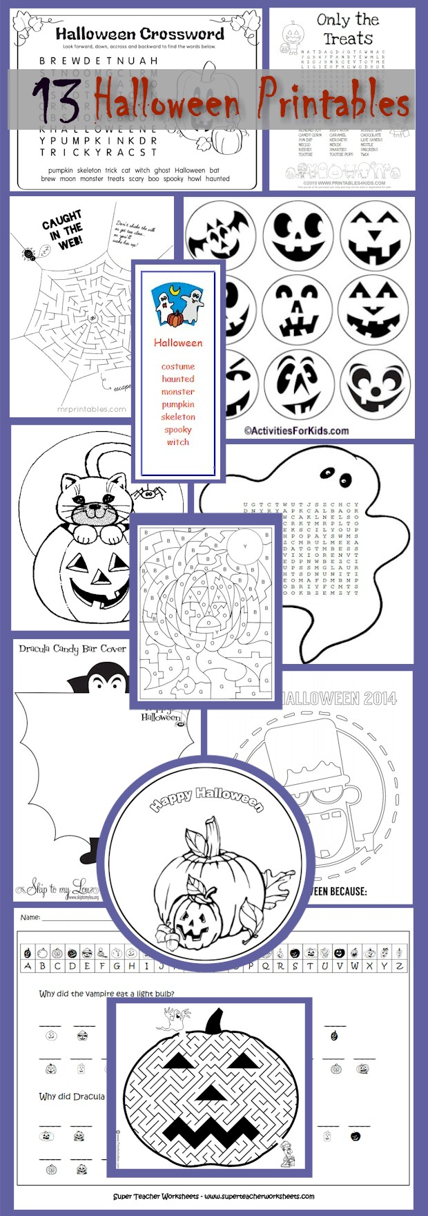 13 Halloween Printouts for kids.  Halloween printables for the classroom.