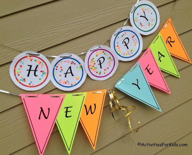 New Year Craft Ideas For Kids Part - 27: Printable Happy New Year Banner For Kids To Make. #happynewyear