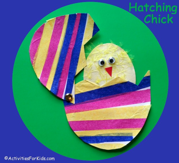 Hatching chick, a colorful Easter craft for kids.  Template for Easter egg and chick from ActivitiesForKids.com